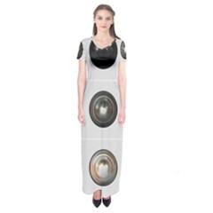 9 Power Buttons Short Sleeve Maxi Dress