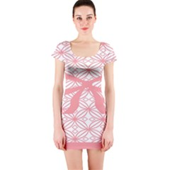 Pink Plaid Circle Short Sleeve Bodycon Dress
