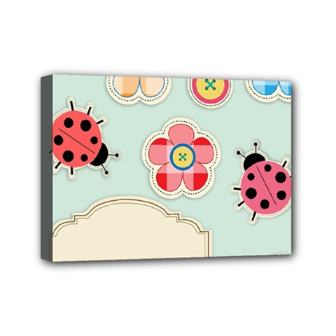 Buttons & Ladybugs Cute Mini Canvas 7  x 5