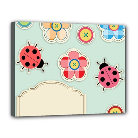 Buttons & Ladybugs Cute Canvas 14  X 11