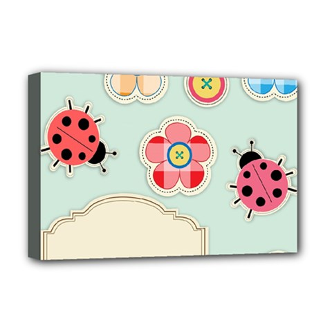 Buttons & Ladybugs Cute Deluxe Canvas 18  x 12