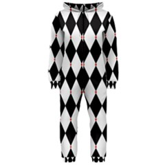 Plaid Triangle Line Wave Chevron Black White Red Beauty Argyle Hooded Jumpsuit (Ladies)
