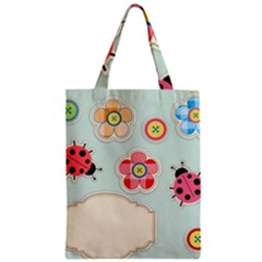 Buttons & Ladybugs Cute Zipper Classic Tote Bag