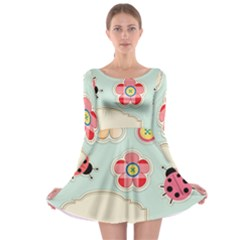 Buttons & Ladybugs Cute Long Sleeve Skater Dress