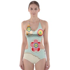 Buttons & Ladybugs Cute Cut-Out One Piece Swimsuit