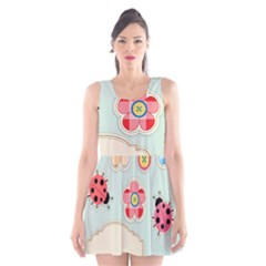 Buttons & Ladybugs Cute Scoop Neck Skater Dress