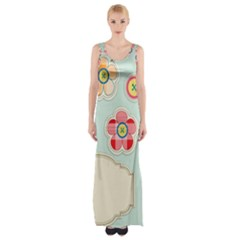 Buttons & Ladybugs Cute Maxi Thigh Split Dress