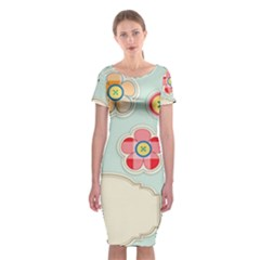 Buttons & Ladybugs Cute Classic Short Sleeve Midi Dress
