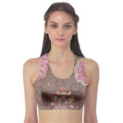 Ice Cream Flower Floral Rose Sunflower Leaf Star Brown Sports Bra