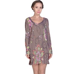 Ice Cream Flower Floral Rose Sunflower Leaf Star Brown Long Sleeve Nightdress