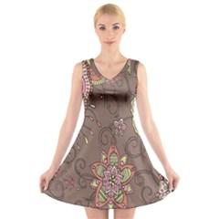 Ice Cream Flower Floral Rose Sunflower Leaf Star Brown V-Neck Sleeveless Skater Dress