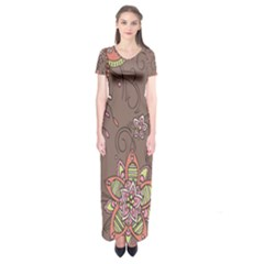 Ice Cream Flower Floral Rose Sunflower Leaf Star Brown Short Sleeve Maxi Dress