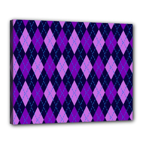 Plaid Triangle Line Wave Chevron Blue Purple Pink Beauty Argyle Canvas 20  x 16
