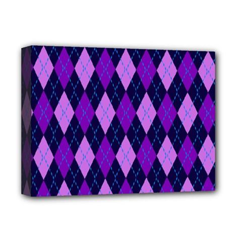 Plaid Triangle Line Wave Chevron Blue Purple Pink Beauty Argyle Deluxe Canvas 16  x 12
