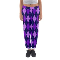 Plaid Triangle Line Wave Chevron Blue Purple Pink Beauty Argyle Women s Jogger Sweatpants