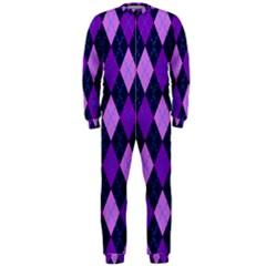 Plaid Triangle Line Wave Chevron Blue Purple Pink Beauty Argyle OnePiece Jumpsuit (Men)