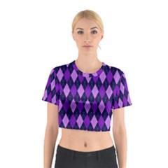 Plaid Triangle Line Wave Chevron Blue Purple Pink Beauty Argyle Cotton Crop Top