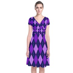 Plaid Triangle Line Wave Chevron Blue Purple Pink Beauty Argyle Short Sleeve Front Wrap Dress