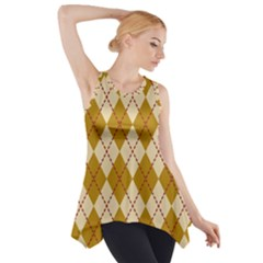 Plaid Triangle Line Wave Chevron Orange Red Grey Beauty Argyle Side Drop Tank Tunic