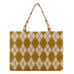Plaid Triangle Line Wave Chevron Orange Red Grey Beauty Argyle Medium Tote Bag