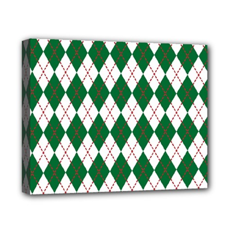 Plaid Triangle Line Wave Chevron Green Red White Beauty Argyle Canvas 10  x 8