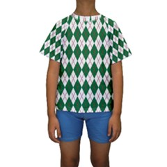 Plaid Triangle Line Wave Chevron Green Red White Beauty Argyle Kids  Short Sleeve Swimwear