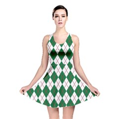 Plaid Triangle Line Wave Chevron Green Red White Beauty Argyle Reversible Skater Dress
