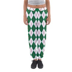 Plaid Triangle Line Wave Chevron Green Red White Beauty Argyle Women s Jogger Sweatpants