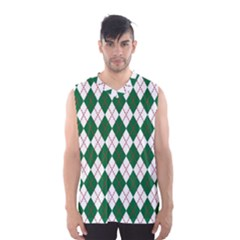 Plaid Triangle Line Wave Chevron Green Red White Beauty Argyle Men s Basketball Tank Top