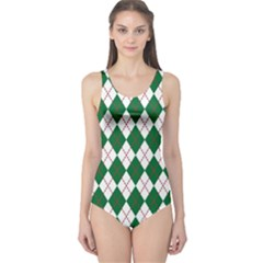 Plaid Triangle Line Wave Chevron Green Red White Beauty Argyle One Piece Swimsuit