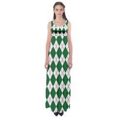Plaid Triangle Line Wave Chevron Green Red White Beauty Argyle Empire Waist Maxi Dress