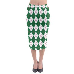 Plaid Triangle Line Wave Chevron Green Red White Beauty Argyle Midi Pencil Skirt