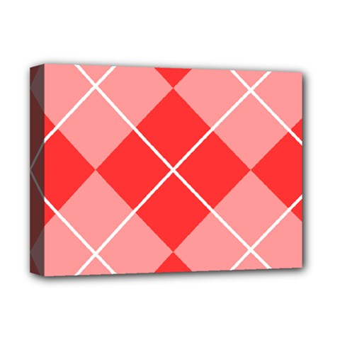 Plaid Triangle Line Wave Chevron Red White Beauty Argyle Deluxe Canvas 16  x 12