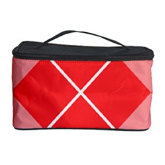 Plaid Triangle Line Wave Chevron Red White Beauty Argyle Cosmetic Storage Case
