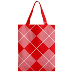 Plaid Triangle Line Wave Chevron Red White Beauty Argyle Zipper Classic Tote Bag