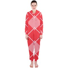 Plaid Triangle Line Wave Chevron Red White Beauty Argyle Hooded Jumpsuit (Ladies)
