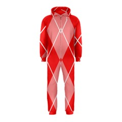 Plaid Triangle Line Wave Chevron Red White Beauty Argyle Hooded Jumpsuit (Kids)