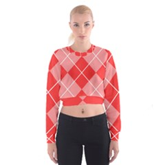 Plaid Triangle Line Wave Chevron Red White Beauty Argyle Women s Cropped Sweatshirt