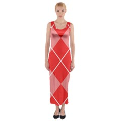 Plaid Triangle Line Wave Chevron Red White Beauty Argyle Fitted Maxi Dress