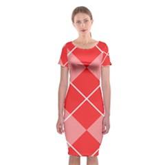 Plaid Triangle Line Wave Chevron Red White Beauty Argyle Classic Short Sleeve Midi Dress