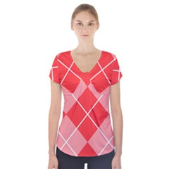 Plaid Triangle Line Wave Chevron Red White Beauty Argyle Short Sleeve Front Detail Top