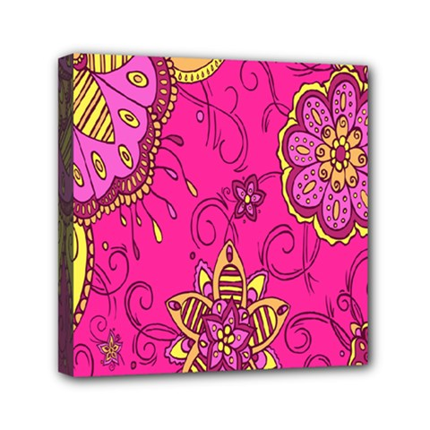 Pink Lemonade Flower Floral Rose Sunflower Leaf Star Pink Mini Canvas 6  x 6