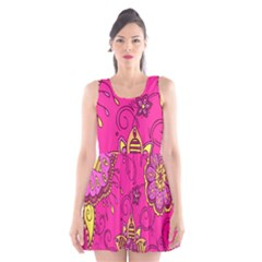 Pink Lemonade Flower Floral Rose Sunflower Leaf Star Pink Scoop Neck Skater Dress