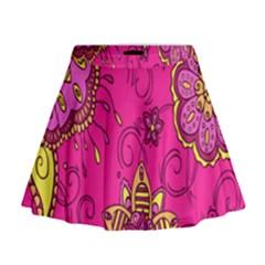 Pink Lemonade Flower Floral Rose Sunflower Leaf Star Pink Mini Flare Skirt