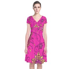 Pink Lemonade Flower Floral Rose Sunflower Leaf Star Pink Short Sleeve Front Wrap Dress