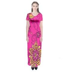 Pink Lemonade Flower Floral Rose Sunflower Leaf Star Pink Short Sleeve Maxi Dress