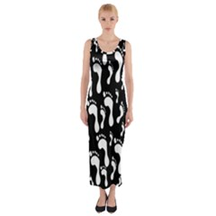 Population Soles Feet Foot Black White Fitted Maxi Dress