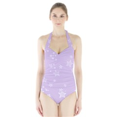 Star Lavender Purple Space Halter Swimsuit