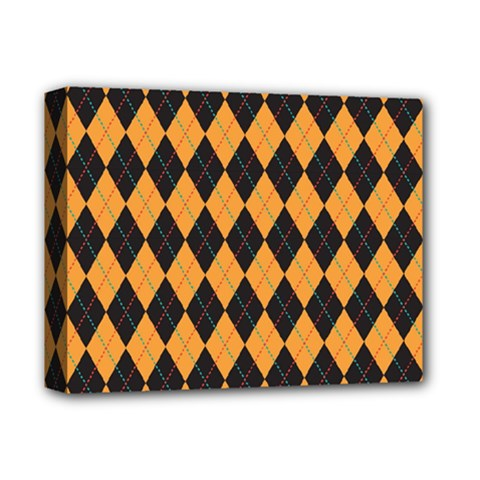 Plaid Triangle Line Wave Chevron Yellow Red Blue Orange Black Beauty Argyle Deluxe Canvas 14  X 11