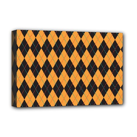 Plaid Triangle Line Wave Chevron Yellow Red Blue Orange Black Beauty Argyle Deluxe Canvas 18  X 12